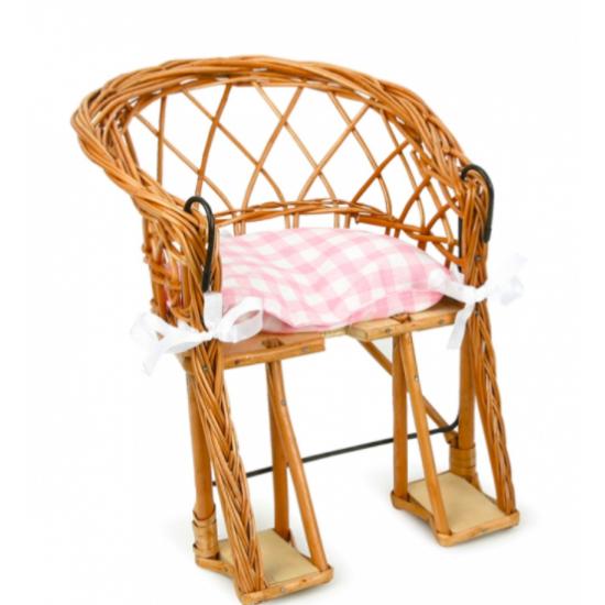 Chaise de vélo et coussin rose