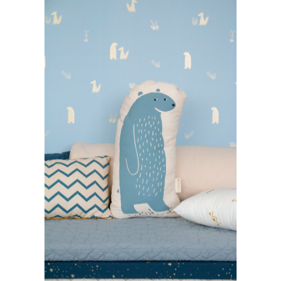 Coussin Ours - Bleu