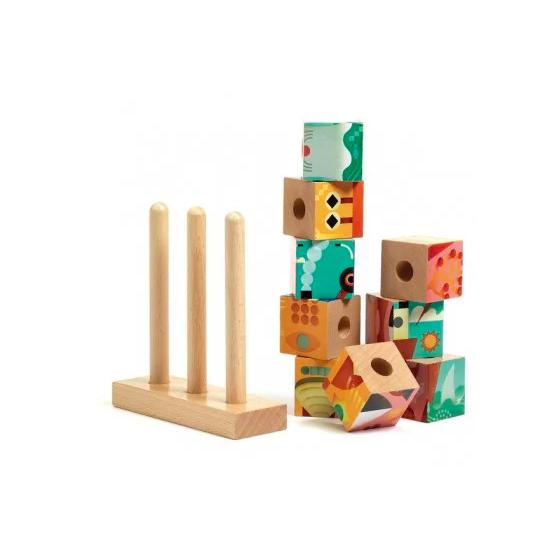 9 cubes puzzles bois -...